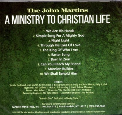 A Ministry to Christian Life - The John Martins - Back
